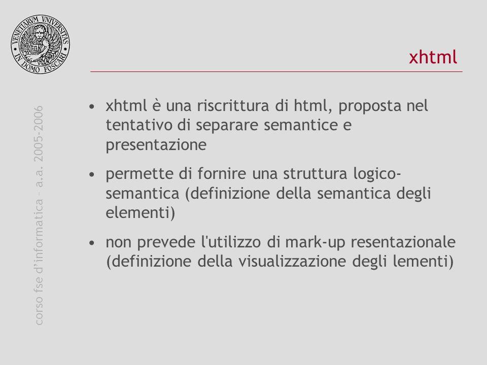 corso fse dinformatica – a.a. 2005-2006 xhtml xhtml è una riscrittura di html, proposta nel tentativo di separare semantice e presentazione permette d