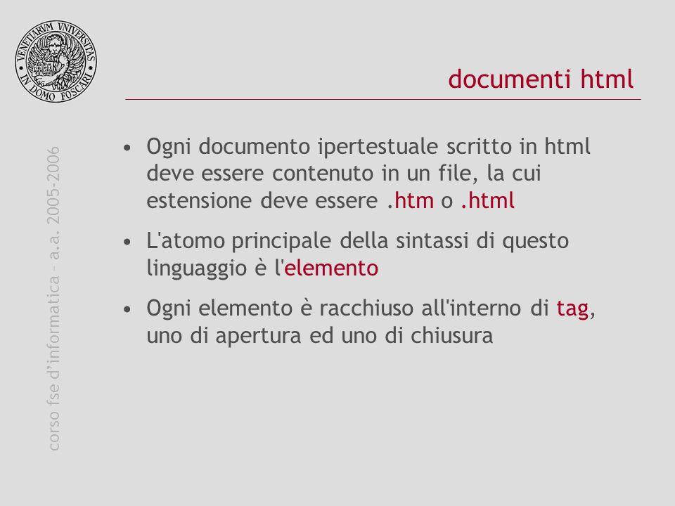 corso fse dinformatica – a.a. 2005-2006 documenti html Ogni documento ipertestuale scritto in html deve essere contenuto in un file, la cui estensione