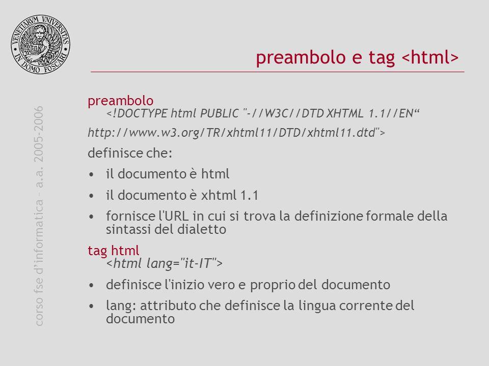 corso fse dinformatica – a.a. 2005-2006 preambolo e tag preambolo <!DOCTYPE html PUBLIC