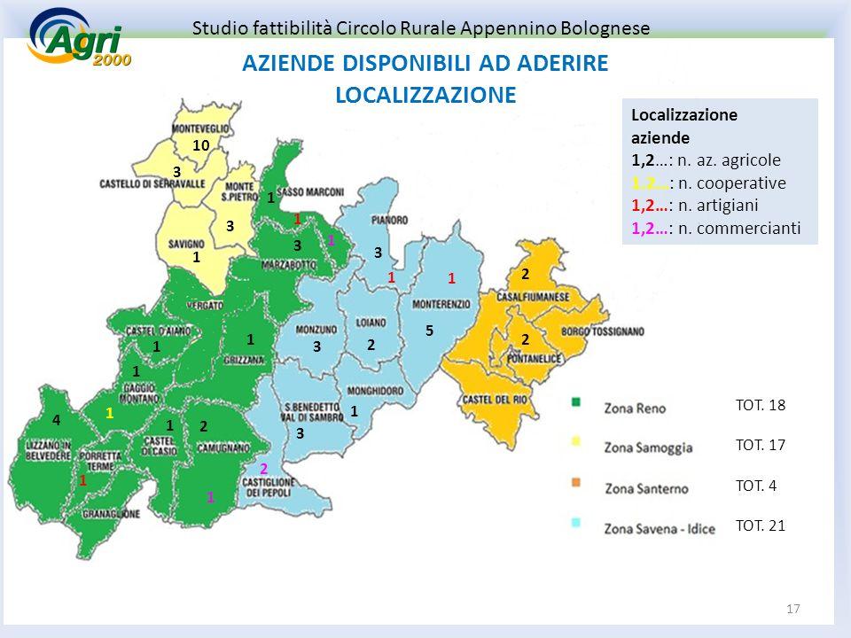 Localizzazione aziende 1,2…: n. az. agricole 1.2…: n.