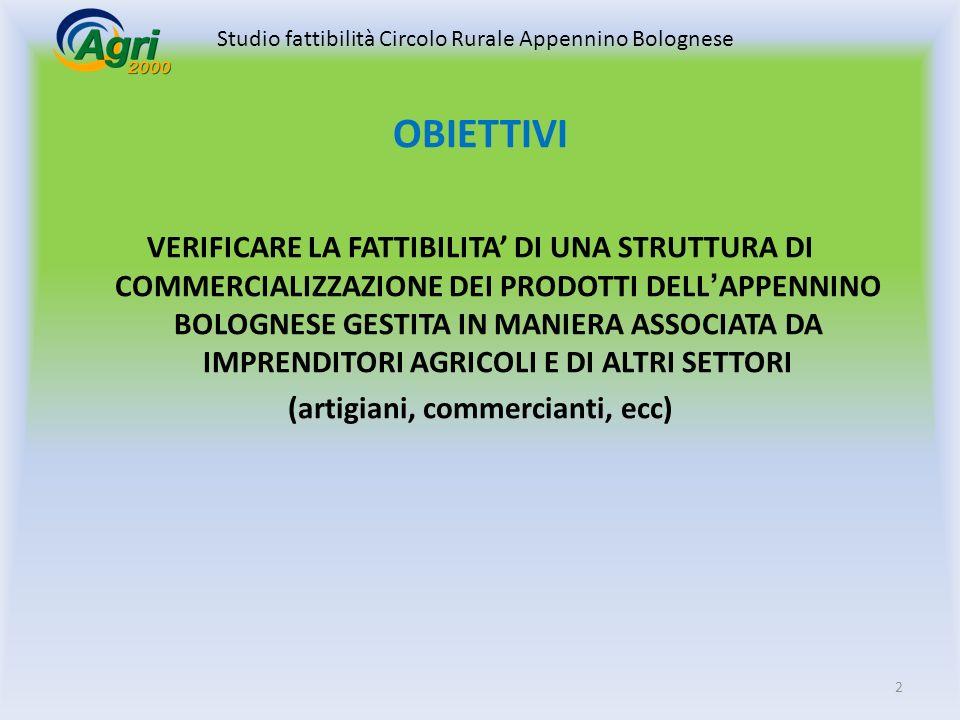 VERIFICARE LA FATTIBILITA DI UNA STRUTTURA DI COMMERCIALIZZAZIONE DEI PRODOTTI DELLAPPENNINO BOLOGNESE GESTITA IN MANIERA ASSOCIATA DA IMPRENDITORI AGRICOLI E DI ALTRI SETTORI (artigiani, commercianti, ecc) OBIETTIVI 2 Studio fattibilità Circolo Rurale Appennino Bolognese