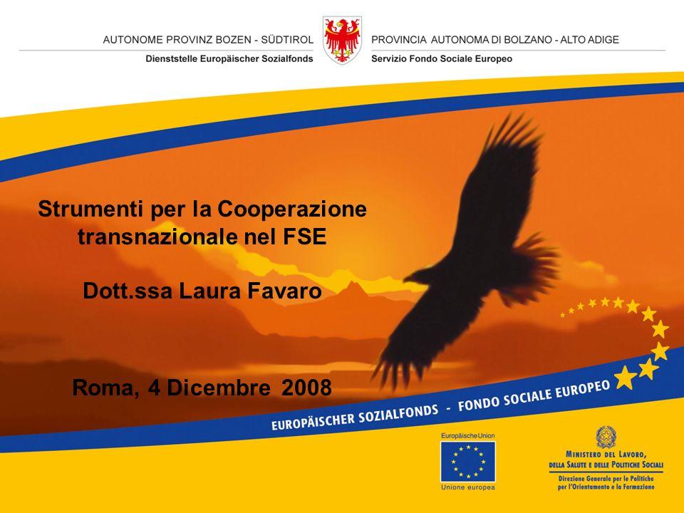 Strumenti per la Cooperazione transnazionale nel FSE Dott.ssa Laura Favaro Roma, 4 Dicembre 2008