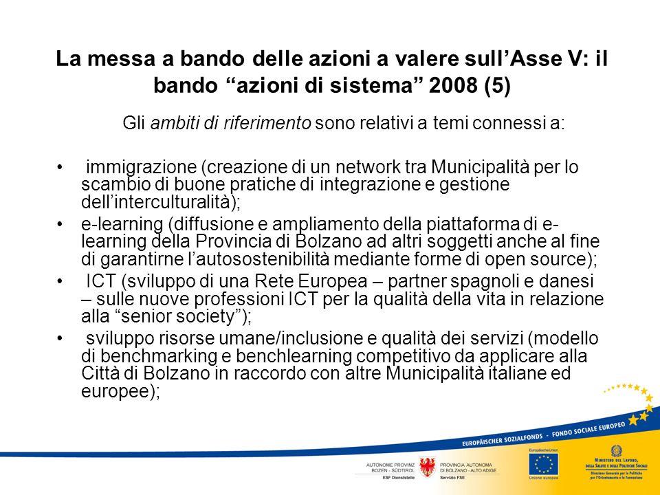 La messa a bando delle azioni a valere sullAsse V: il bando azioni di sistema 2008 (5) Gli ambiti di riferimento sono relativi a temi connessi a: immigrazione (creazione di un network tra Municipalità per lo scambio di buone pratiche di integrazione e gestione dellinterculturalità); e-learning (diffusione e ampliamento della piattaforma di e- learning della Provincia di Bolzano ad altri soggetti anche al fine di garantirne lautosostenibilità mediante forme di open source); ICT (sviluppo di una Rete Europea – partner spagnoli e danesi – sulle nuove professioni ICT per la qualità della vita in relazione alla senior society); sviluppo risorse umane/inclusione e qualità dei servizi (modello di benchmarking e benchlearning competitivo da applicare alla Città di Bolzano in raccordo con altre Municipalità italiane ed europee);