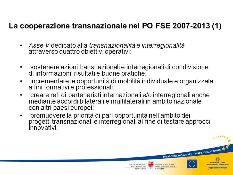 La cooperazione transnazionale nel PO FSE 2007-2013 (1) Asse V dedicato alla transnazionalità e interregionalità attraverso quattro obiettivi operativi: sostenere azioni transnazionali e interregionali di condivisione di informazioni, risultati e buone pratiche; incrementare le opportunità di mobilità individuale e organizzata a fini formativi e professionali; creare reti di partenariati internazionali e/o interregionali anche mediante accordi bilaterali e multilaterali in ambito nazionale con altri paesi europei; promuovere la priorità di pari opportunità nellambito dei progetti transnazionali e interregionali al fine di testare approcci innovativi.