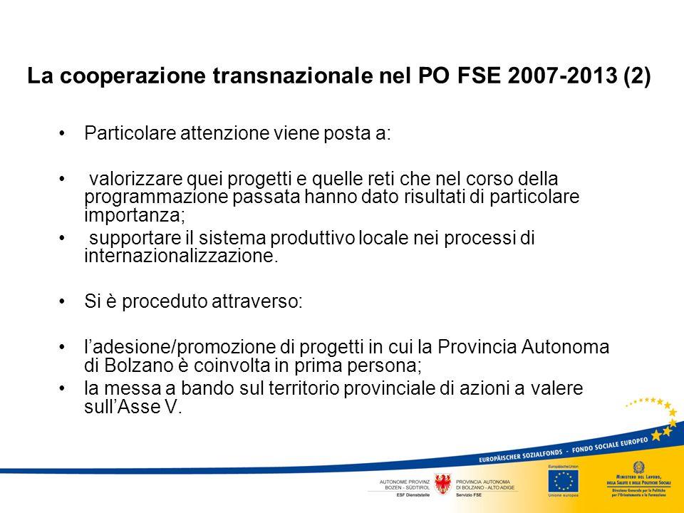 La cooperazione transnazionale nel PO FSE 2007-2013 (2) Particolare attenzione viene posta a: valorizzare quei progetti e quelle reti che nel corso della programmazione passata hanno dato risultati di particolare importanza; supportare il sistema produttivo locale nei processi di internazionalizzazione.