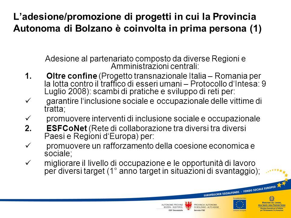 Ladesione/promozione di progetti in cui la Provincia Autonoma di Bolzano è coinvolta in prima persona (1) Adesione al partenariato composto da diverse Regioni e Amministrazioni centrali: 1.