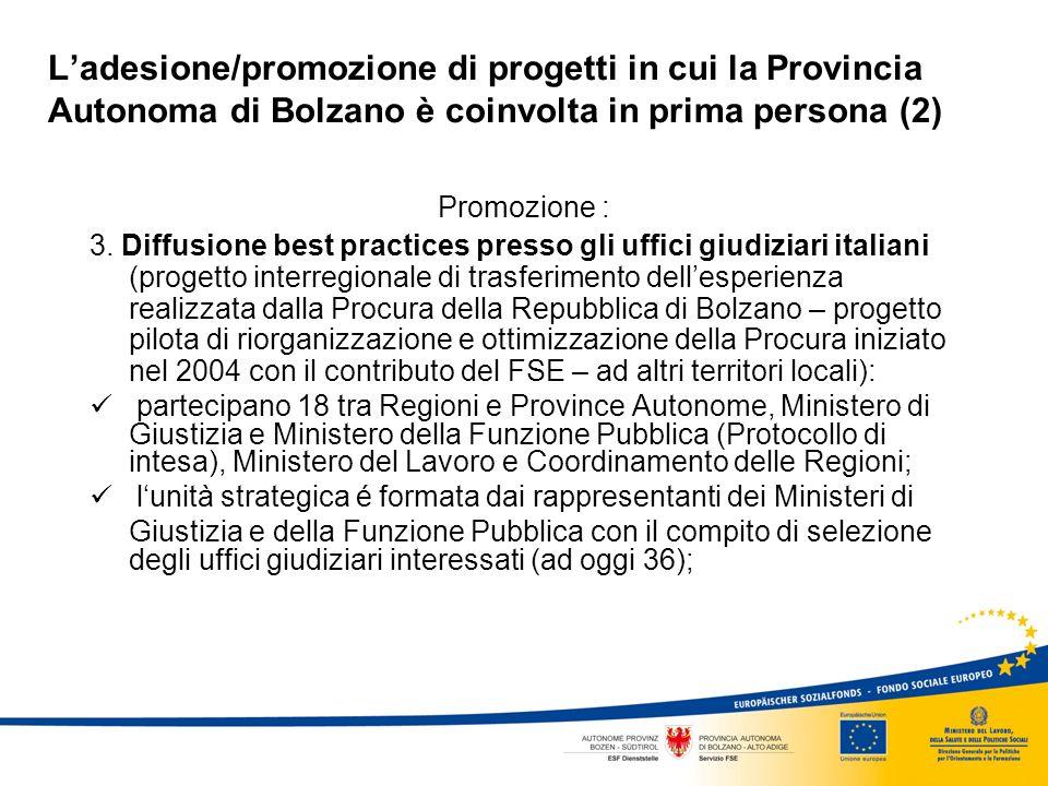 Ladesione/promozione di progetti in cui la Provincia Autonoma di Bolzano è coinvolta in prima persona (2) Promozione : 3.