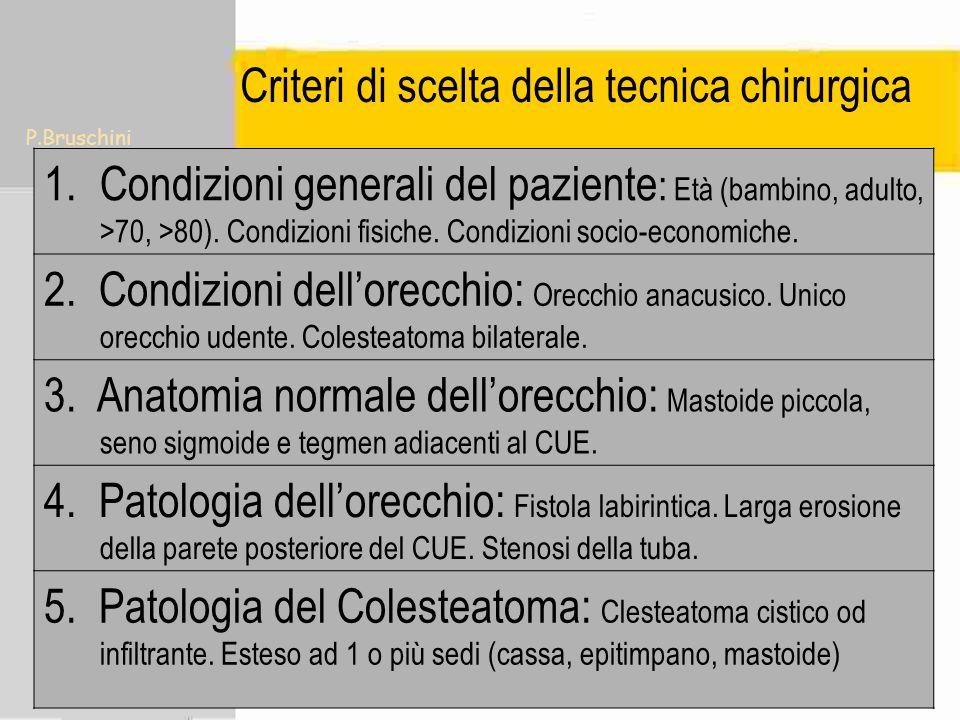 P.Bruschini Criteri di scelta della tecnica chirurgica Età (<75,< 80 ). Condizioni fisiche del paziente. Condizioni socio-economiche. Anacusia, Unico