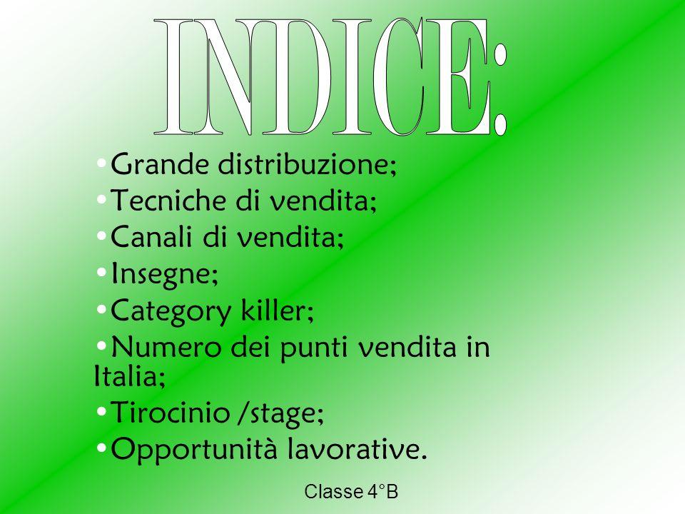 Classe 4°B Grande distribuzione; Tecniche di vendita; Canali di vendita; Insegne; Category killer; Numero dei punti vendita in Italia; Tirocinio /stage; Opportunità lavorative.