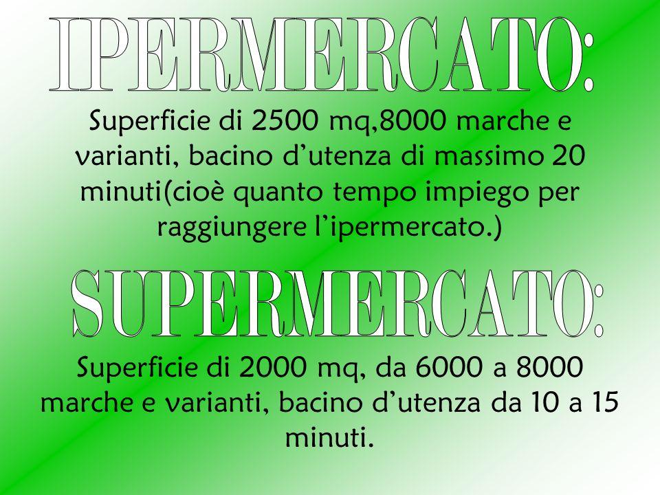 Superficie di 2500 mq,8000 marche e varianti, bacino dutenza di massimo 20 minuti(cioè quanto tempo impiego per raggiungere lipermercato.) Superficie di 2000 mq, da 6000 a 8000 marche e varianti, bacino dutenza da 10 a 15 minuti.