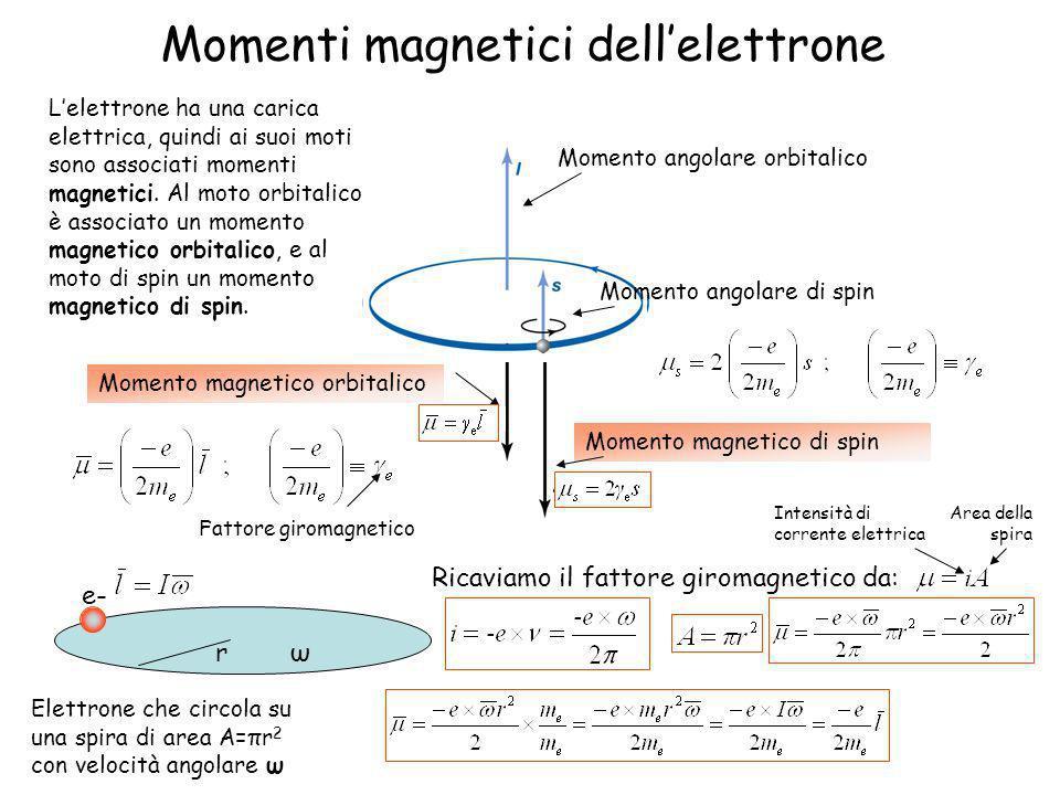 rω Momenti magnetici dellelettrone Momento angolare orbitalico Momento angolare di spin Momento magnetico di spin Momento magnetico orbitalico Lelettr
