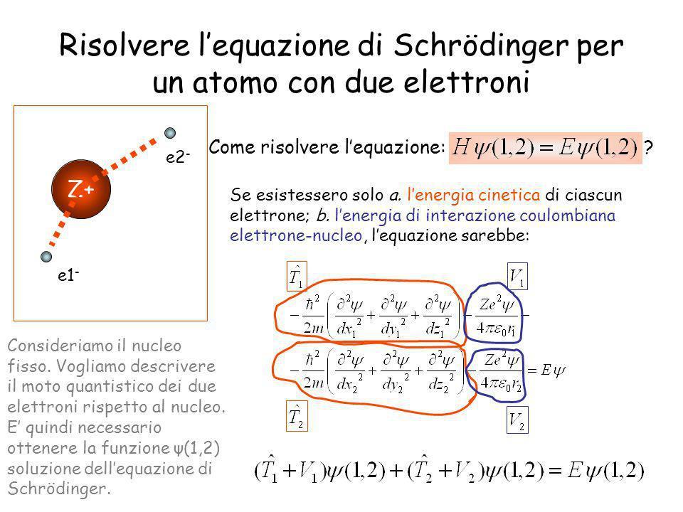 Risolvere lequazione di Schrödinger per un atomo con due elettroni Z+ e1 - e2 - Come risolvere lequazione: ? Se esistessero solo a. lenergia cinetica