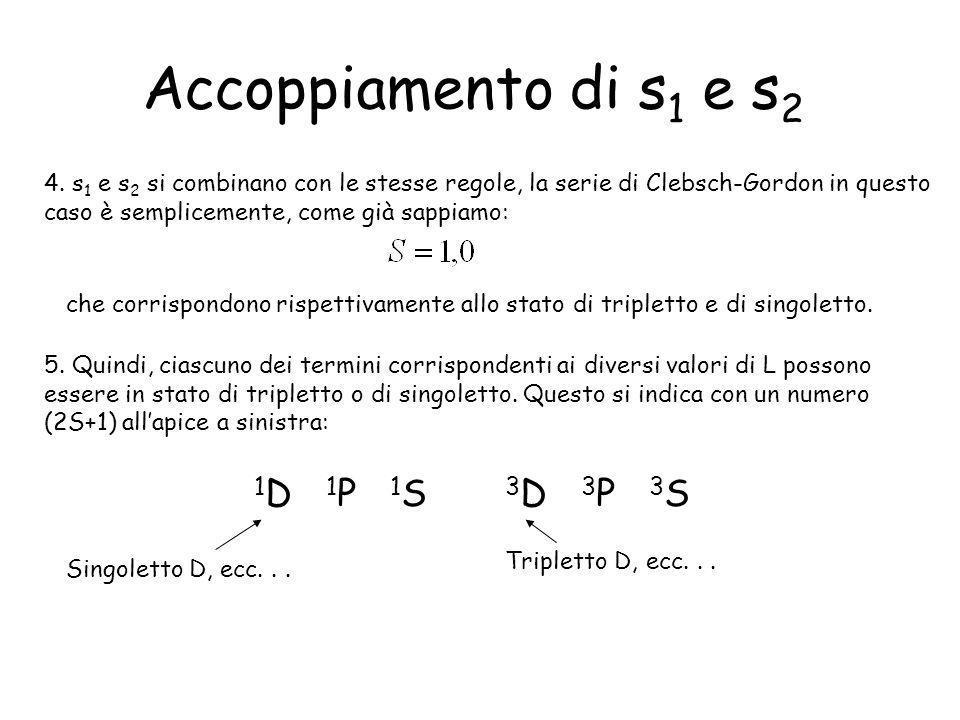 Accoppiamento di s 1 e s 2 4. s 1 e s 2 si combinano con le stesse regole, la serie di Clebsch-Gordon in questo caso è semplicemente, come già sappiam