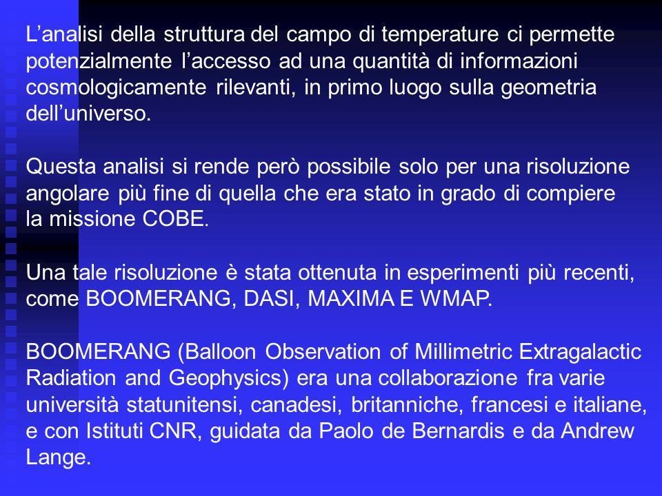 Lanalisi della struttura del campo di temperature ci permette potenzialmente laccesso ad una quantità di informazioni cosmologicamente rilevanti, in p
