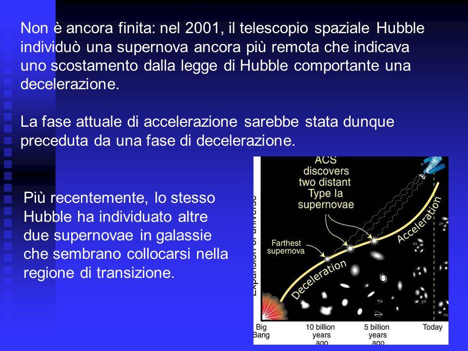 Non è ancora finita: nel 2001, il telescopio spaziale Hubble individuò una supernova ancora più remota che indicava uno scostamento dalla legge di Hub