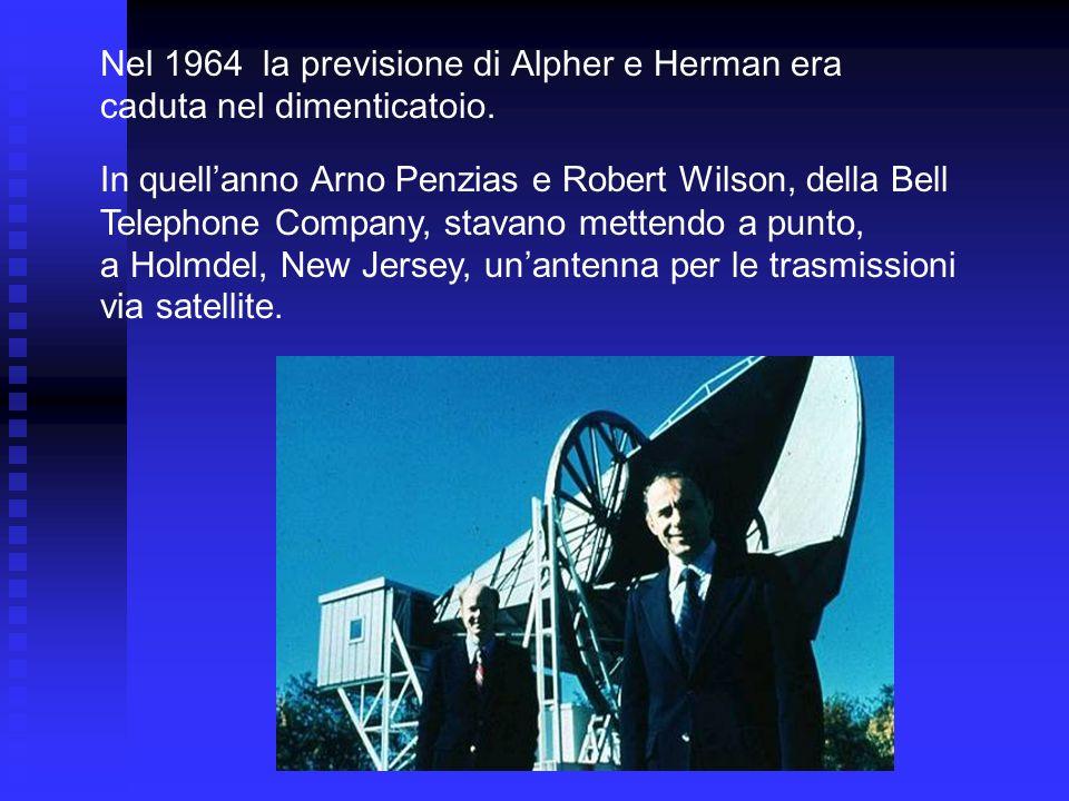 Nel 1964 la previsione di Alpher e Herman era caduta nel dimenticatoio. In quellanno Arno Penzias e Robert Wilson, della Bell Telephone Company, stava