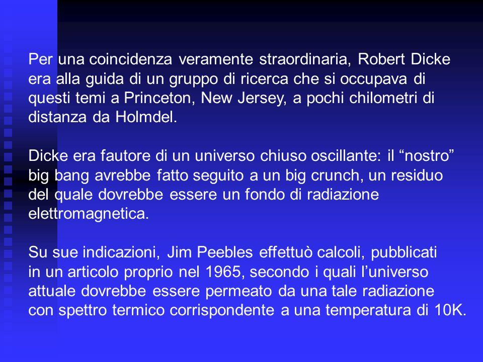 Per una coincidenza veramente straordinaria, Robert Dicke era alla guida di un gruppo di ricerca che si occupava di questi temi a Princeton, New Jerse