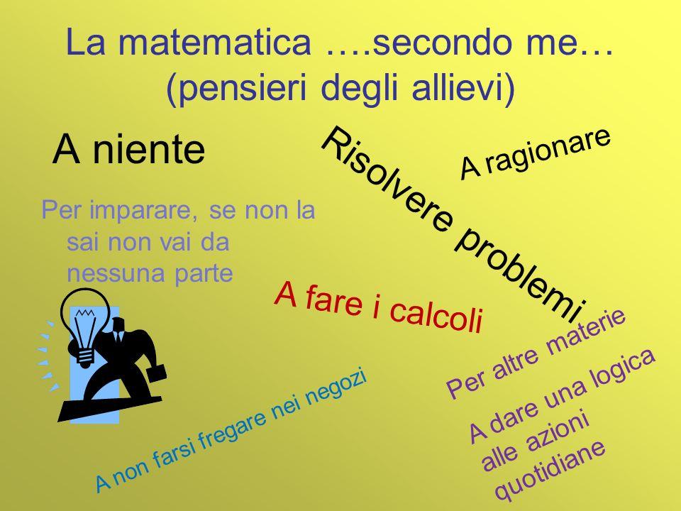 La matematica ….secondo me… (pensieri degli allievi) A niente Per imparare, se non la sai non vai da nessuna parte A fare i calcoli Risolvere problemi