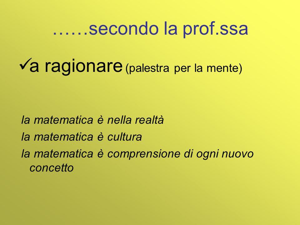 ……secondo la prof.ssa a ragionare (palestra per la mente) la matematica è nella realtà la matematica è cultura la matematica è comprensione di ogni nu