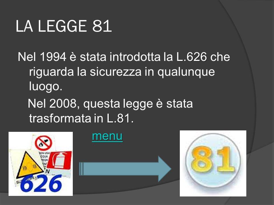 LA LEGGE 81 L.626 Nel 1994 è stata introdotta la L.626 che riguarda la sicurezza in qualunque luogo. L.81. Nel 2008, questa legge è stata trasformata