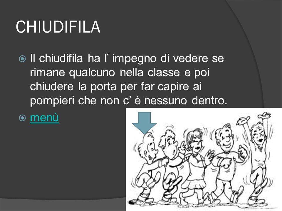 CHIUDIFILA Il chiudifila ha l impegno di vedere se rimane qualcuno nella classe e poi chiudere la porta per far capire ai pompieri che non c è nessuno
