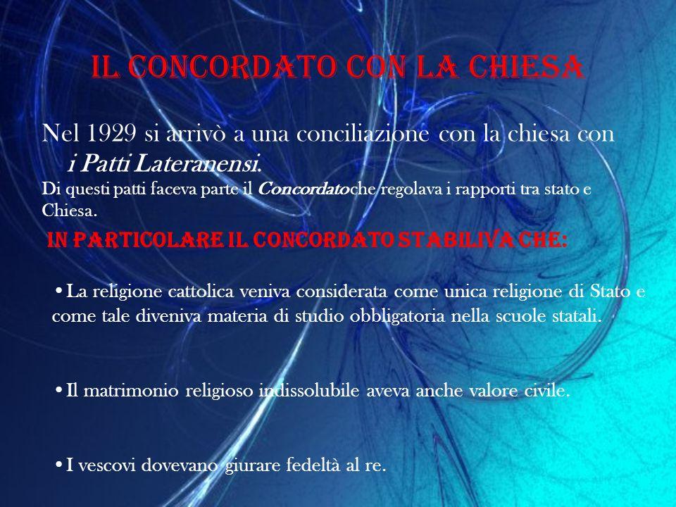 Il concordato con la chiesa Nel 1929 si arrivò a una conciliazione con la chiesa con i Patti Lateranensi. Di questi patti faceva parte il Concordato c