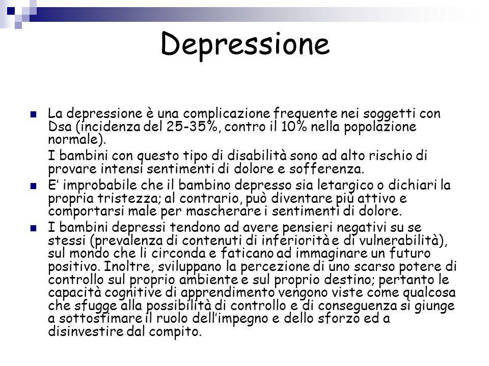 Depressione La depressione è una complicazione frequente nei soggetti con Dsa (incidenza del 25-35%, contro il 10% nella popolazione normale). I bambi