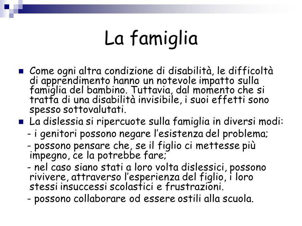 La famiglia Come ogni altra condizione di disabilità, le difficoltà di apprendimento hanno un notevole impatto sulla famiglia del bambino. Tuttavia, d