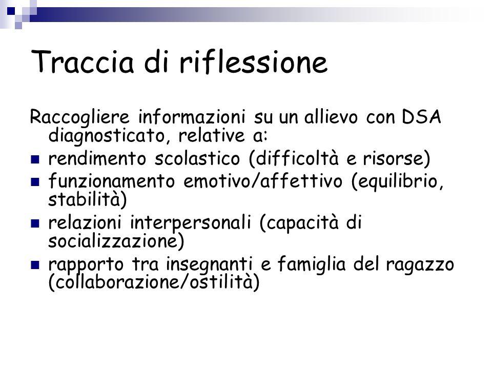 Traccia di riflessione Raccogliere informazioni su un allievo con DSA diagnosticato, relative a: rendimento scolastico (difficoltà e risorse) funziona