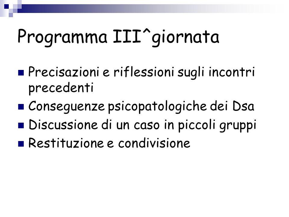 Programma III^giornata Precisazioni e riflessioni sugli incontri precedenti Conseguenze psicopatologiche dei Dsa Discussione di un caso in piccoli gru
