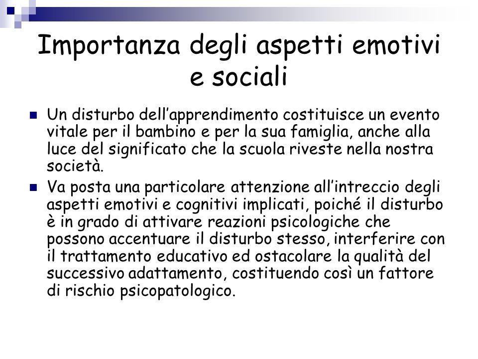Importanza degli aspetti emotivi e sociali Un disturbo dellapprendimento costituisce un evento vitale per il bambino e per la sua famiglia, anche alla