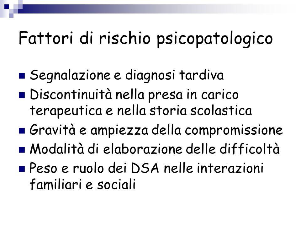 Dsa e psicopatologia DISTURBI DI INTERNALIZZAZIONE: disturbi dansia, quadri depressivi, disturbi psicosomatici.