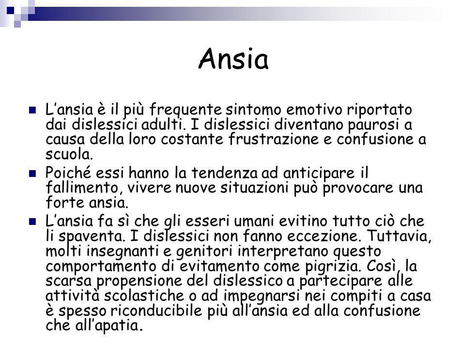 Ansia Lansia è il più frequente sintomo emotivo riportato dai dislessici adulti. I dislessici diventano paurosi a causa della loro costante frustrazio