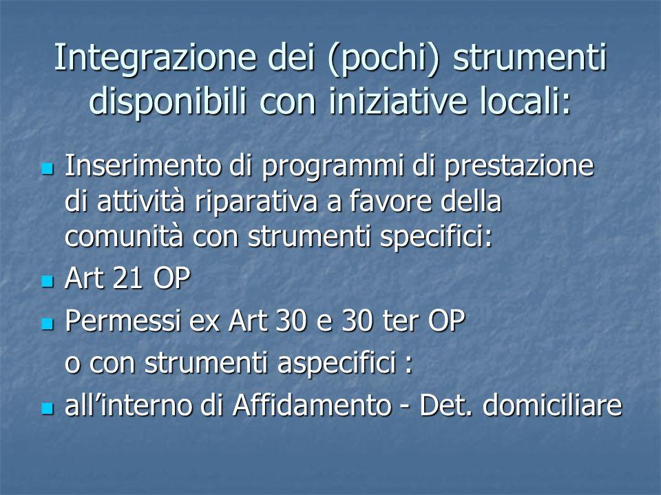 Integrazione dei (pochi) strumenti disponibili con iniziative locali: Inserimento di programmi di prestazione di attività riparativa a favore della co