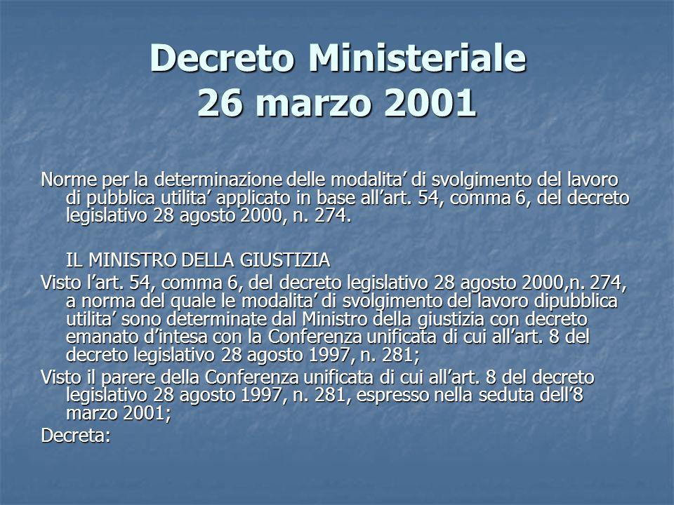 Decreto Ministeriale 26 marzo 2001 Norme per la determinazione delle modalita di svolgimento del lavoro di pubblica utilita applicato in base allart.