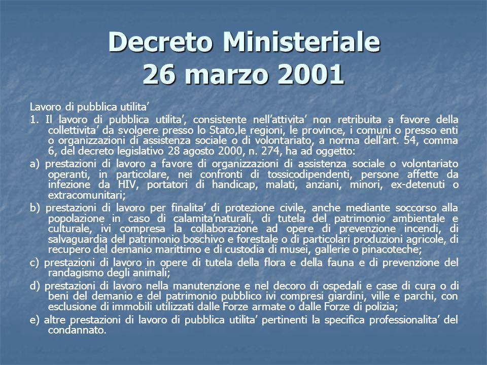 Decreto Ministeriale 26 marzo 2001 Lavoro di pubblica utilita 1. Il lavoro di pubblica utilita, consistente nellattivita non retribuita a favore della