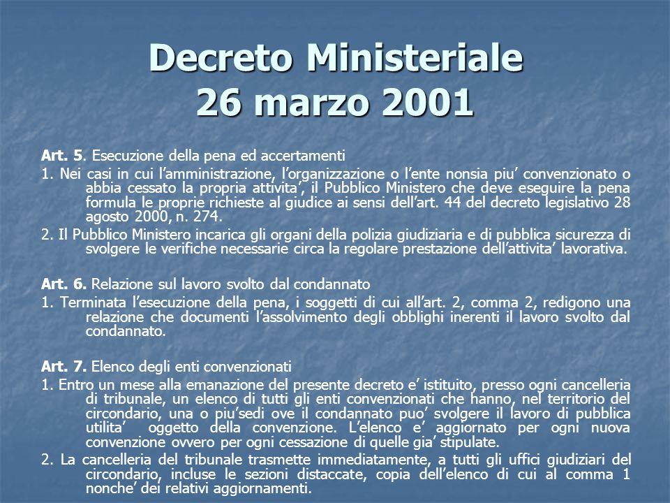 Decreto Ministeriale 26 marzo 2001 Art. 5. Esecuzione della pena ed accertamenti 1. Nei casi in cui lamministrazione, lorganizzazione o lente nonsia p