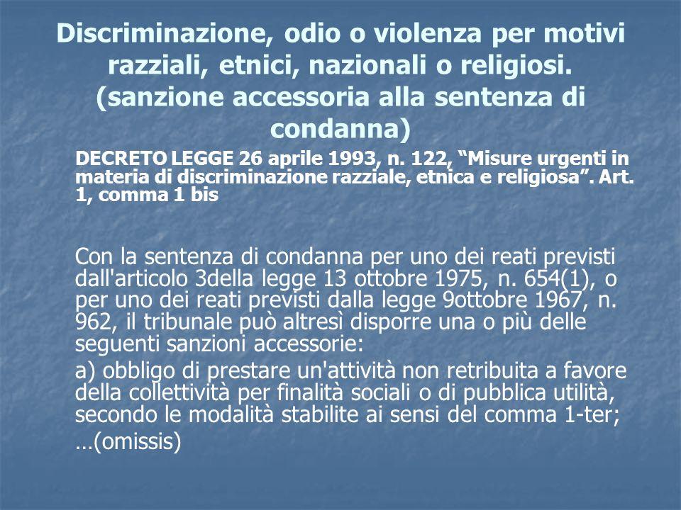 Discriminazione, odio o violenza per motivi razziali, etnici, nazionali o religiosi. (sanzione accessoria alla sentenza di condanna) DECRETO LEGGE 26