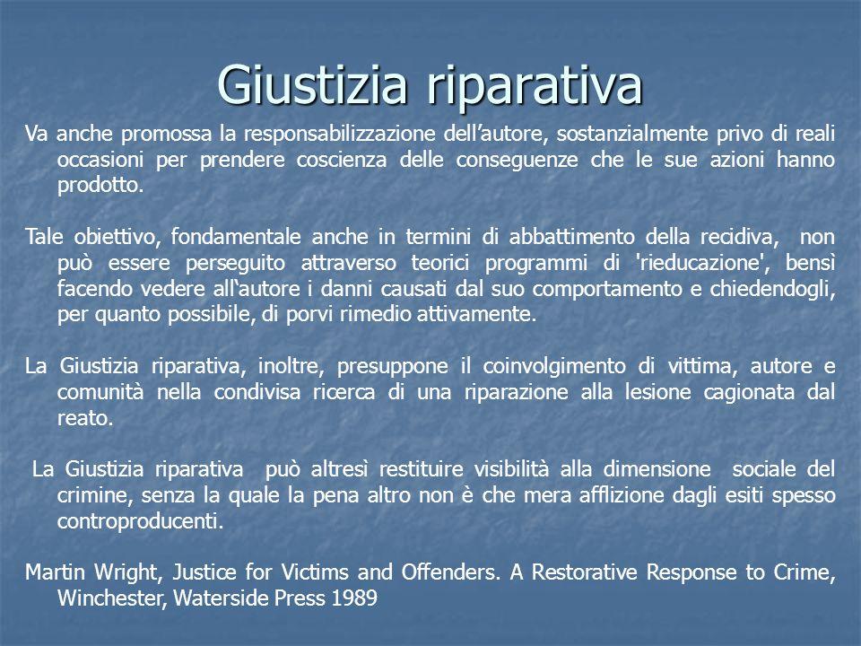 Giustizia riparativa Va anche promossa la responsabilizzazione dellautore, sostanzialmente privo di reali occasioni per prendere coscienza delle conse
