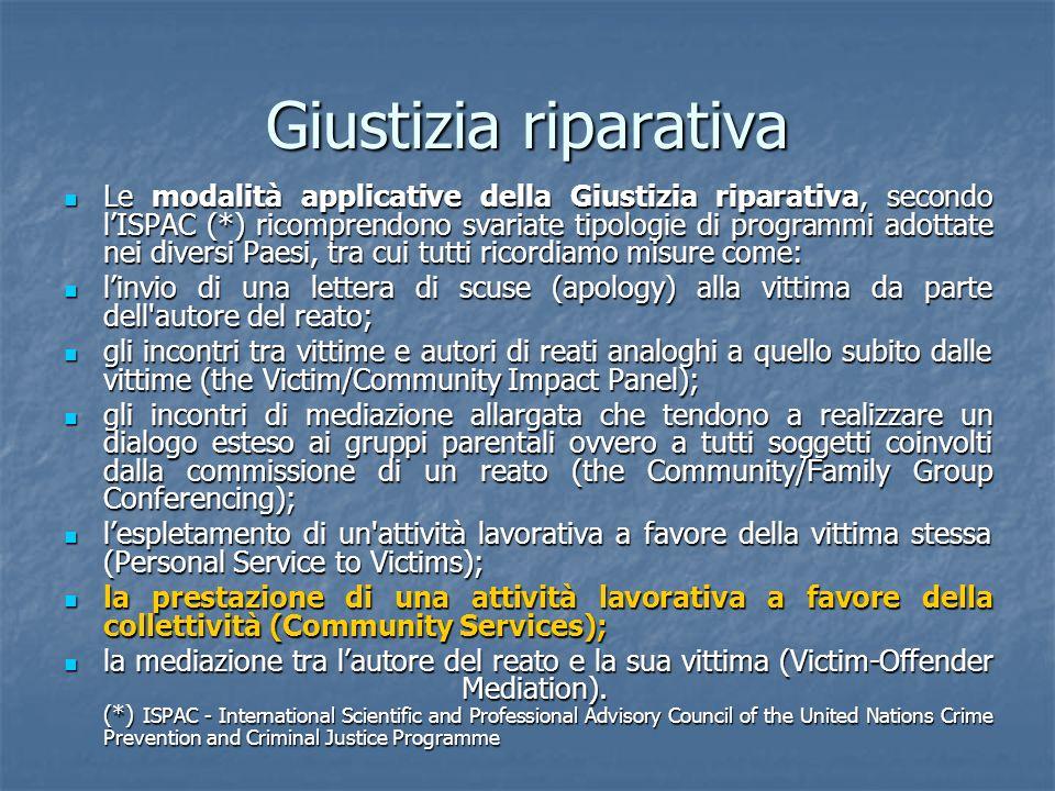 Giustizia riparativa Le modalità applicative della Giustizia riparativa, secondo lISPAC (*) ricomprendono svariate tipologie di programmi adottate nei