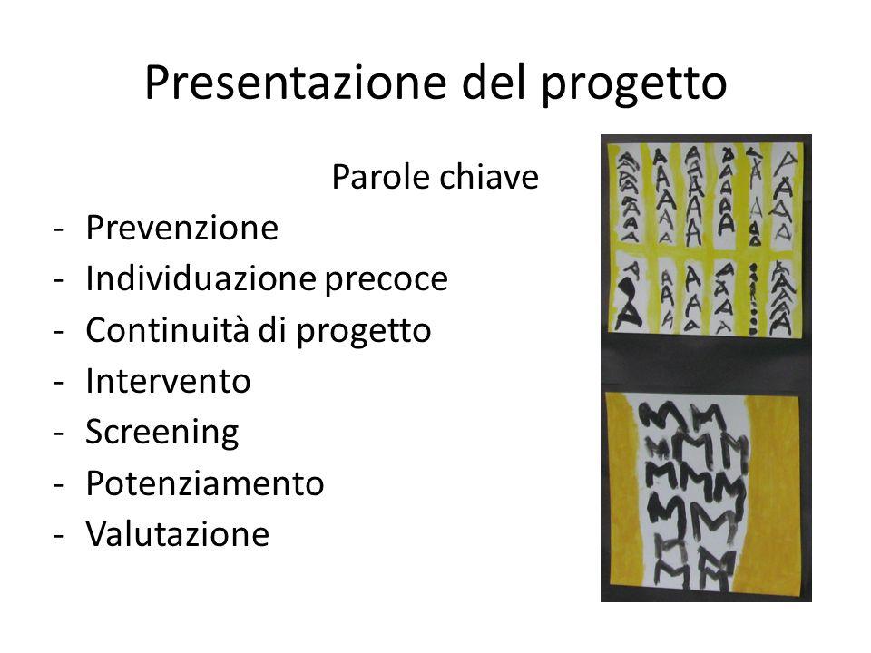 Presentazione del progetto Parole chiave -Prevenzione -Individuazione precoce -Continuità di progetto -Intervento -Screening -Potenziamento -Valutazione