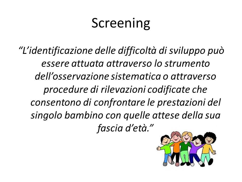 Screening Lidentificazione delle difficoltà di sviluppo può essere attuata attraverso lo strumento dellosservazione sistematica o attraverso procedure di rilevazioni codificate che consentono di confrontare le prestazioni del singolo bambino con quelle attese della sua fascia detà.