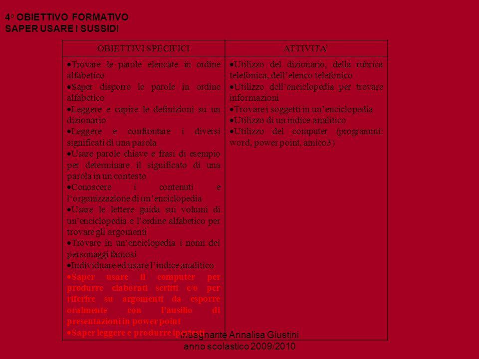 Insegnante Annalisa Giustini anno scolastico 2009/2010 4° momento:SAPER USARE I SUSSIDI Quali sono.