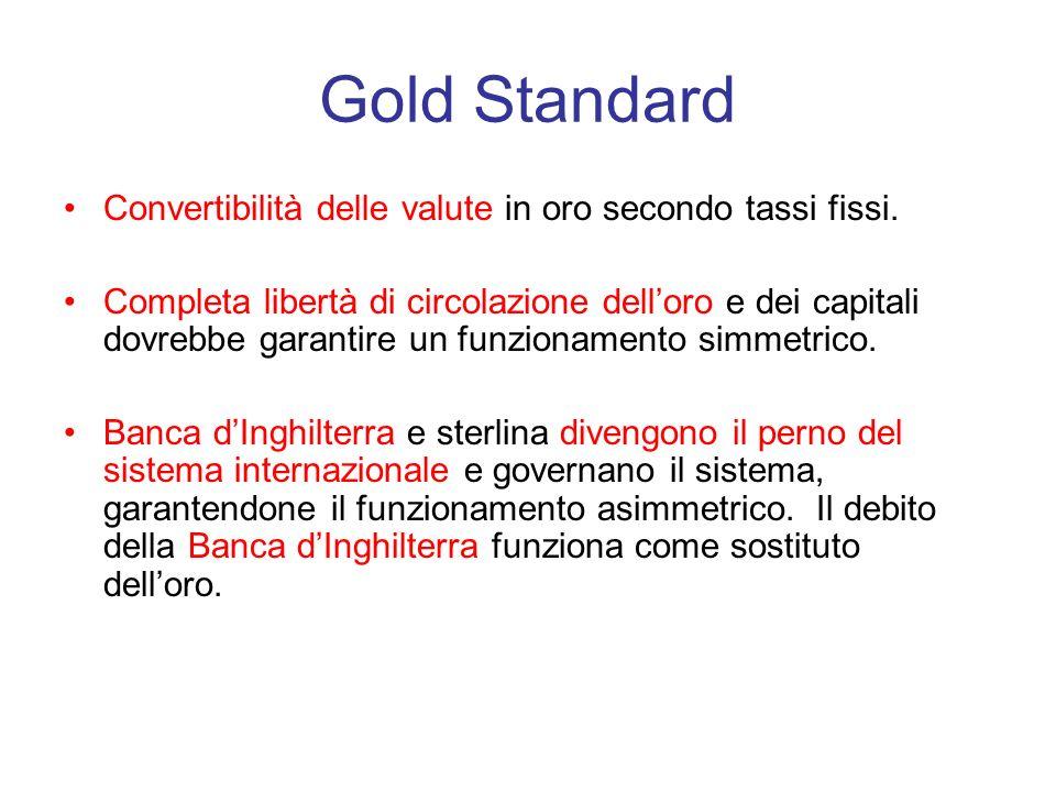 Ladozione del sistema del gold standard La Gran Bretagna adottò il Gold Standard subito dopo la fine delle guerre Napoleoniche (1814) Questo comportò di rendere loro la base di tutti gli scambi monetari.
