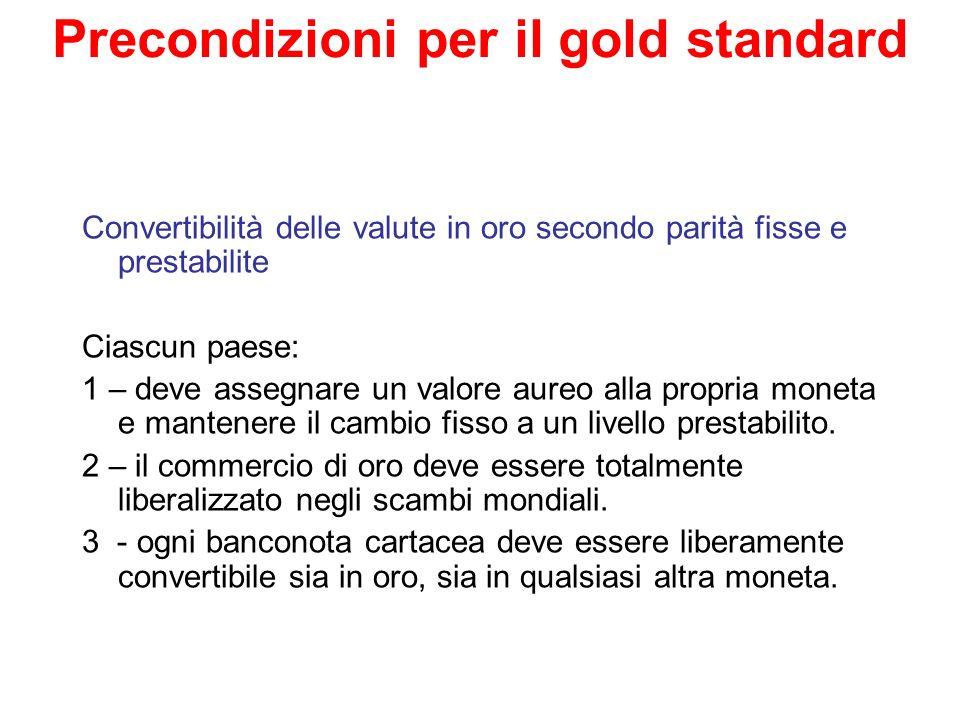 Come funzionava il gold standard.