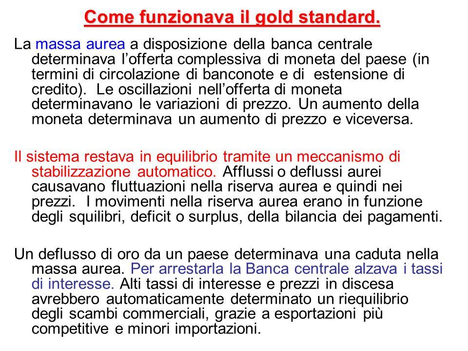 Vantaggi e problemi del gold standard Vantaggi - Cambi fissi – non cè il rischio di svalutazioni competitive.