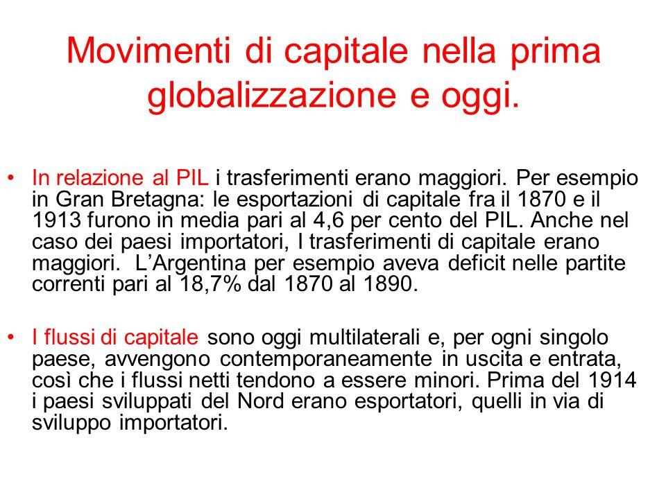 Movimenti di capitale nella prima globalizzazione e oggi. In relazione al PIL i trasferimenti erano maggiori. Per esempio in Gran Bretagna: le esporta