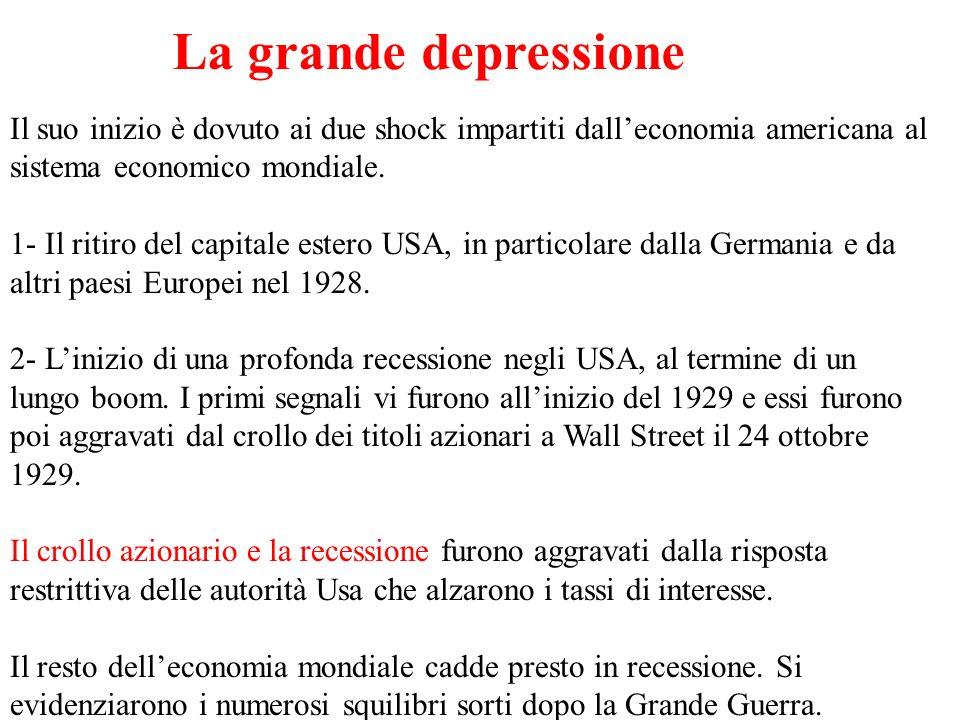 La grande depressione Il suo inizio è dovuto ai due shock impartiti dalleconomia americana al sistema economico mondiale. 1- Il ritiro del capitale es