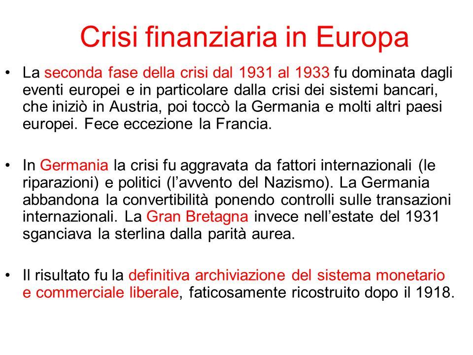 La prima ripresa dopo la crisi: anni Trenta La ripresa economica cominciò nel 1933 e fu guidata dagli USA e dalla Germania.
