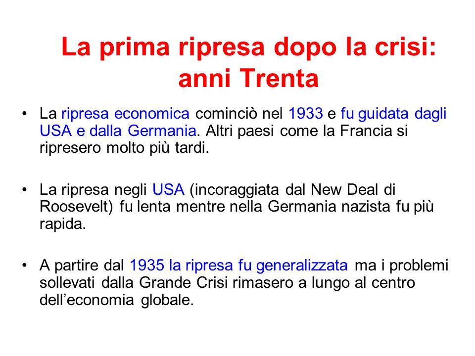 La disintegrazione del sistema internazionale negli anni 1930 Difficoltà a raggiungere accordi internazionali in materia monetaria e finanziaria inversione di tendenza del processo di apertura commerciale.